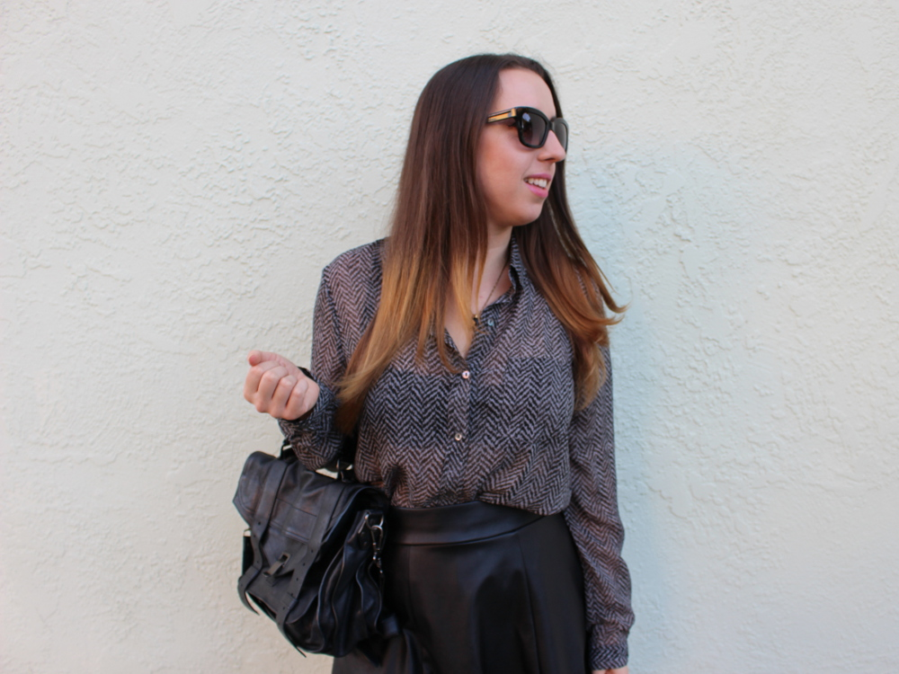 sheer chiffon herringbone blouse