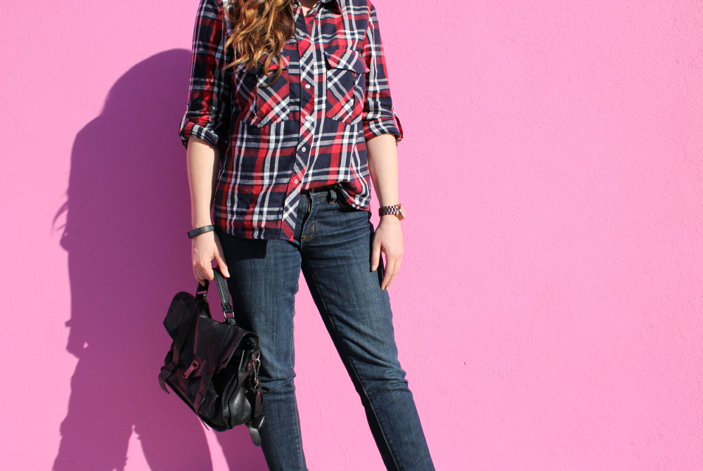 plaid and skinny jeans