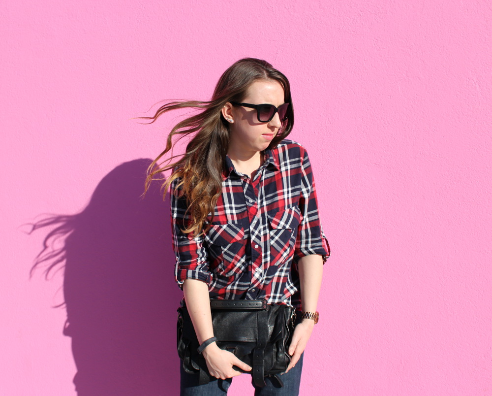 plaid on pink