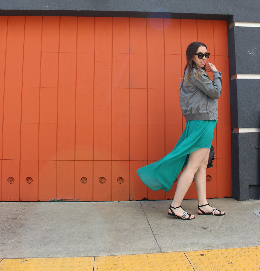 teal high low skirt