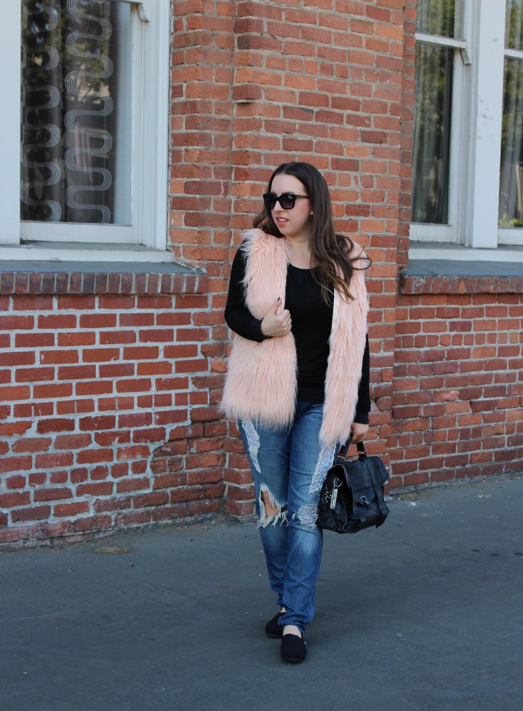 pink forever 21 faux fur vest