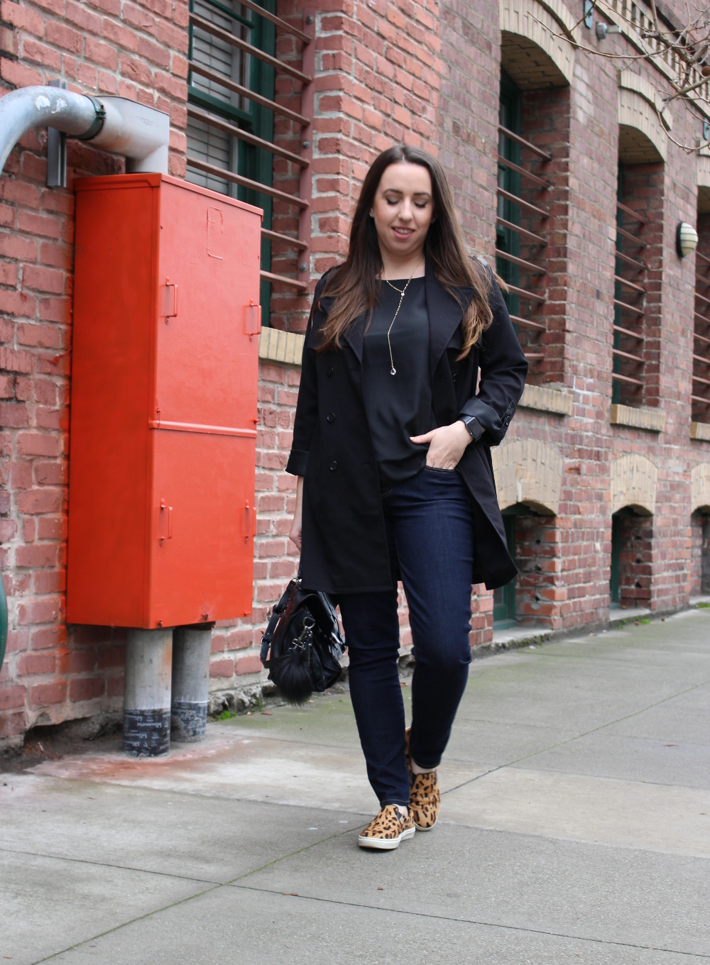 sf style blog - black trench coat