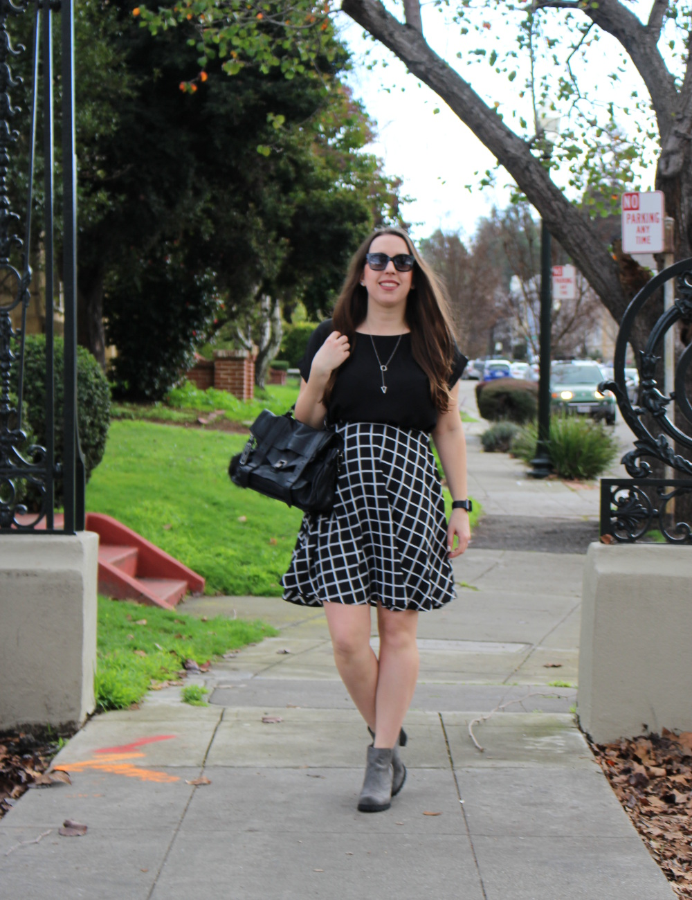 black and white grid skirt