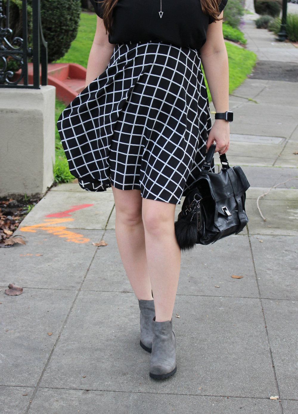 black and white windowpane skirt