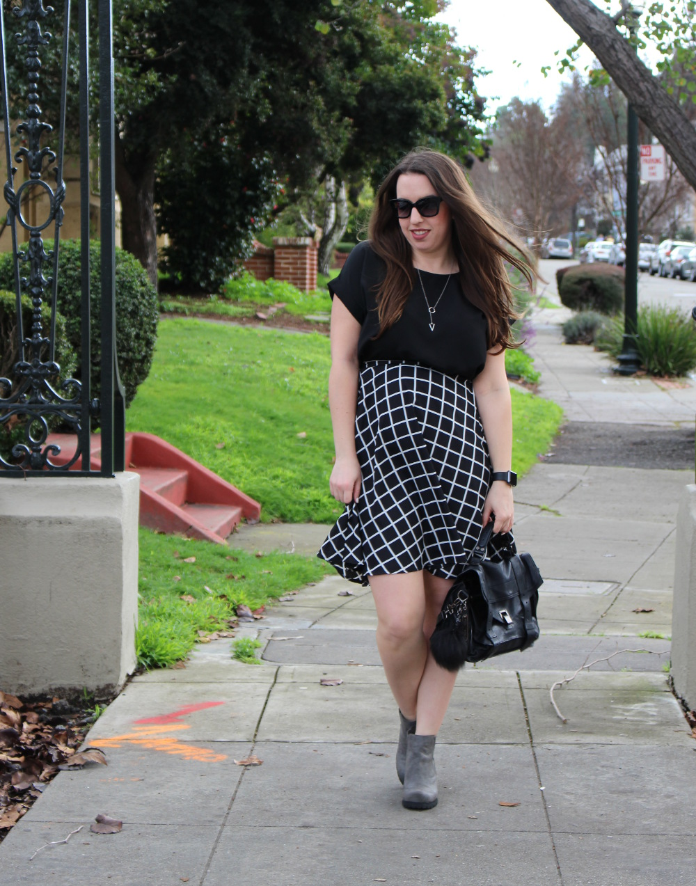 windowpane forever 21 skirt