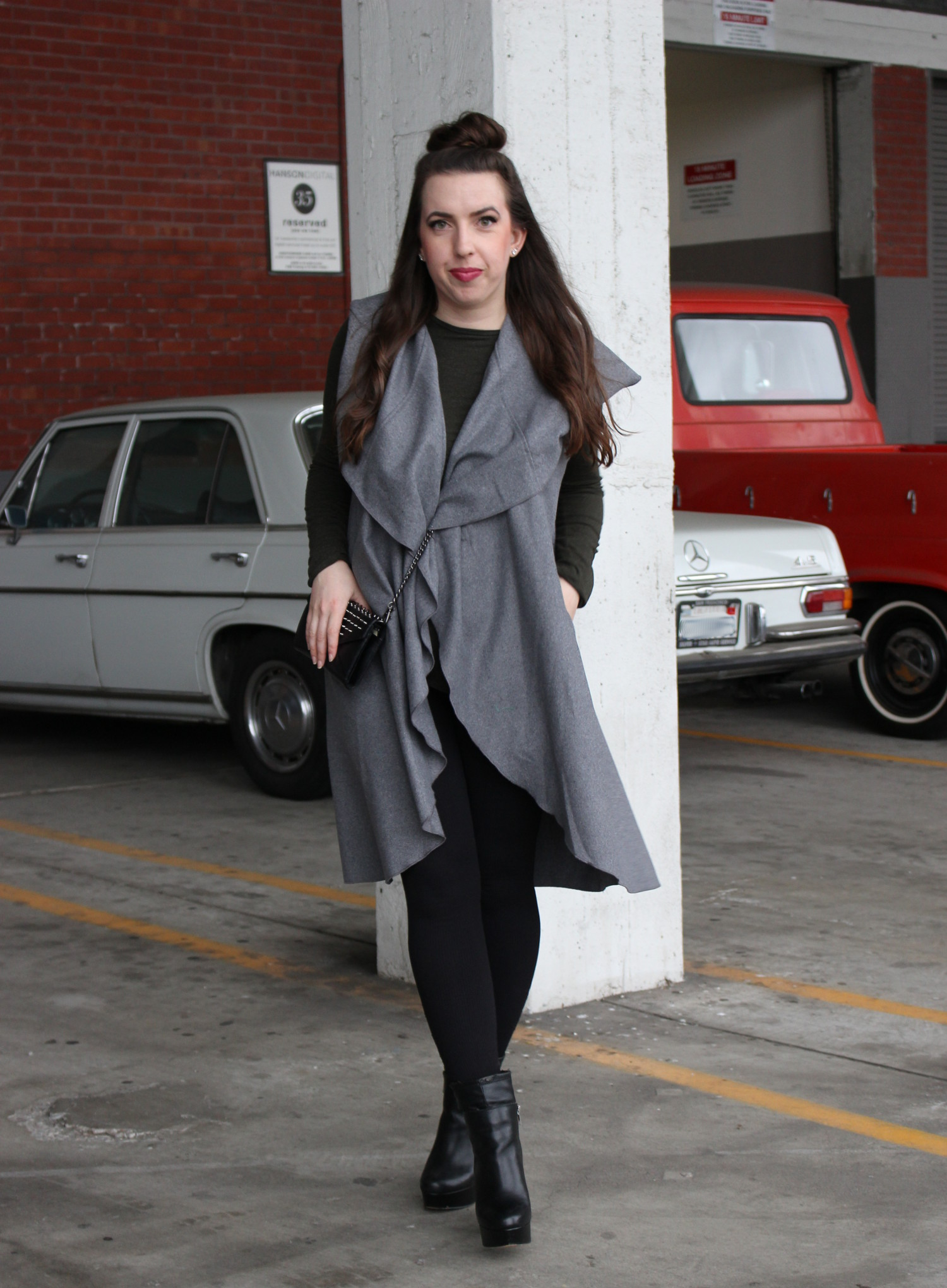 gray duster trench coat