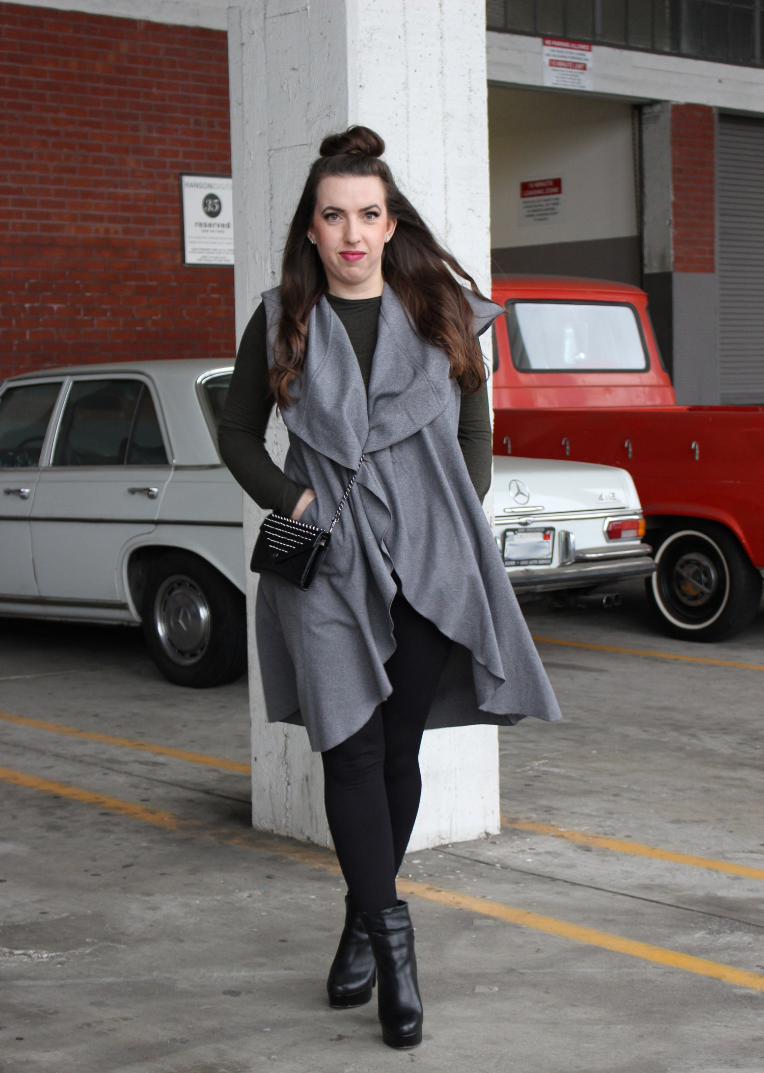 winter sleeveless trench coat
