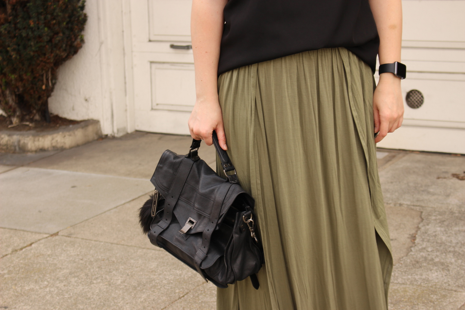 tobi olive maxi skirt - san francisco blogger