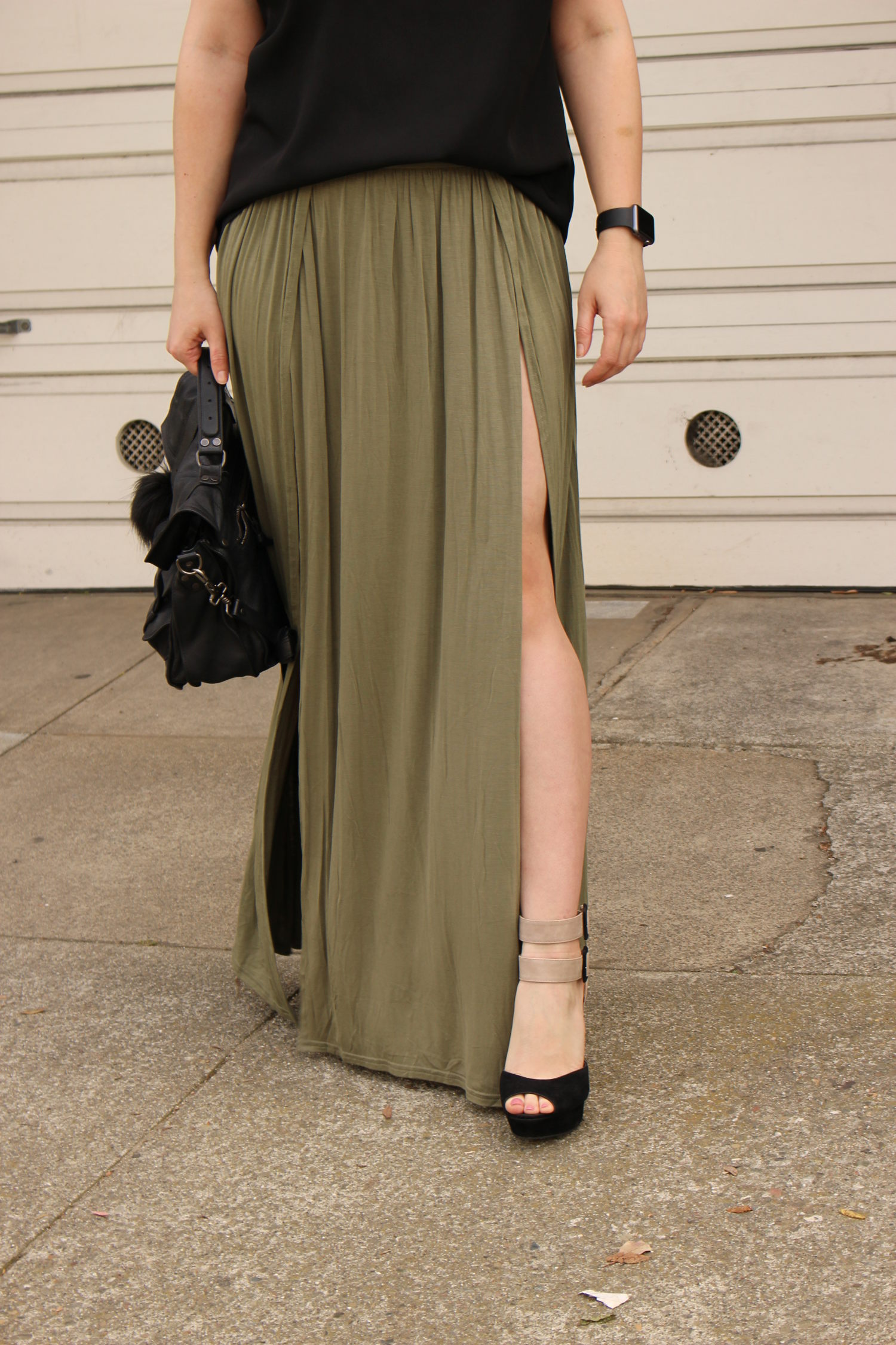 tobi olive maxi skirt - sf blogger