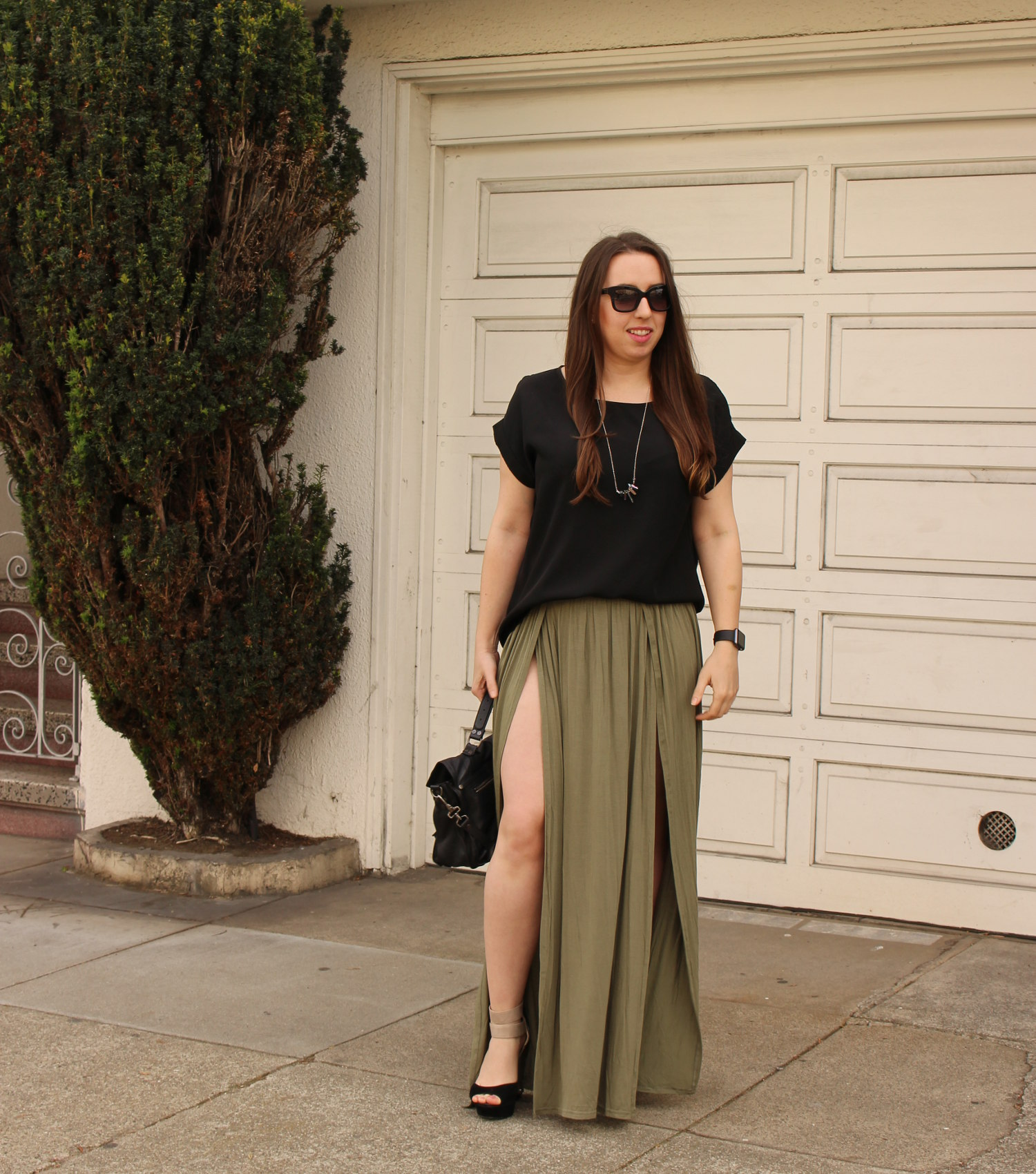 tobi olive maxi skirt - sf fashion blogger