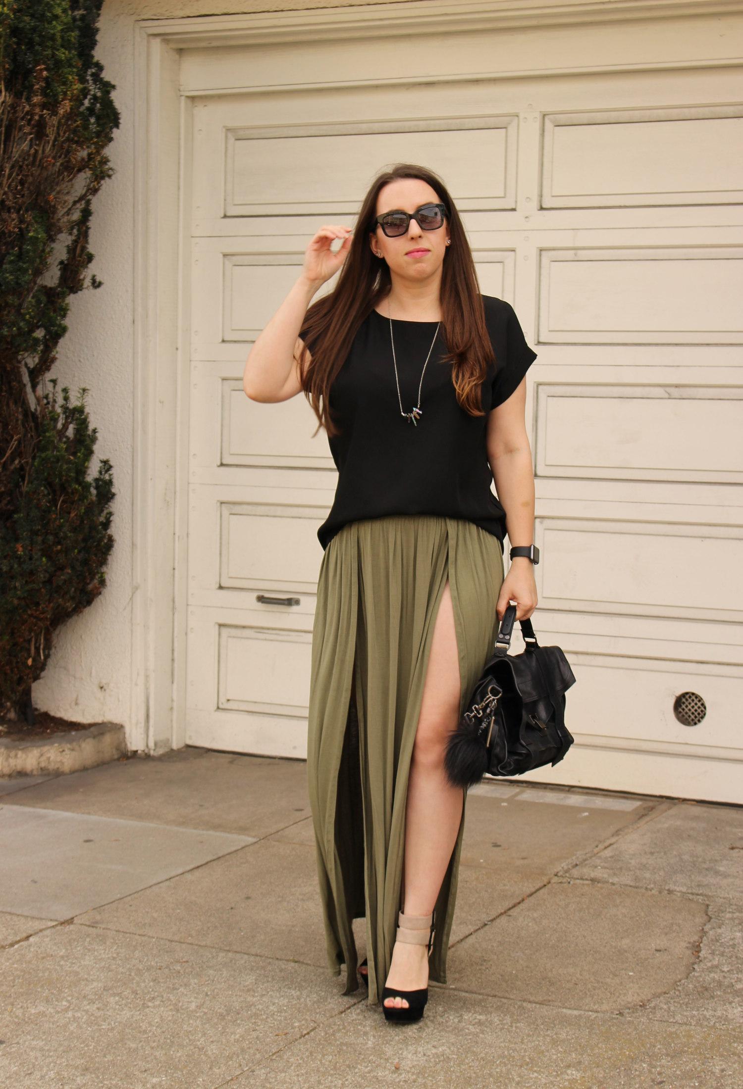 tobi olive maxi skirt