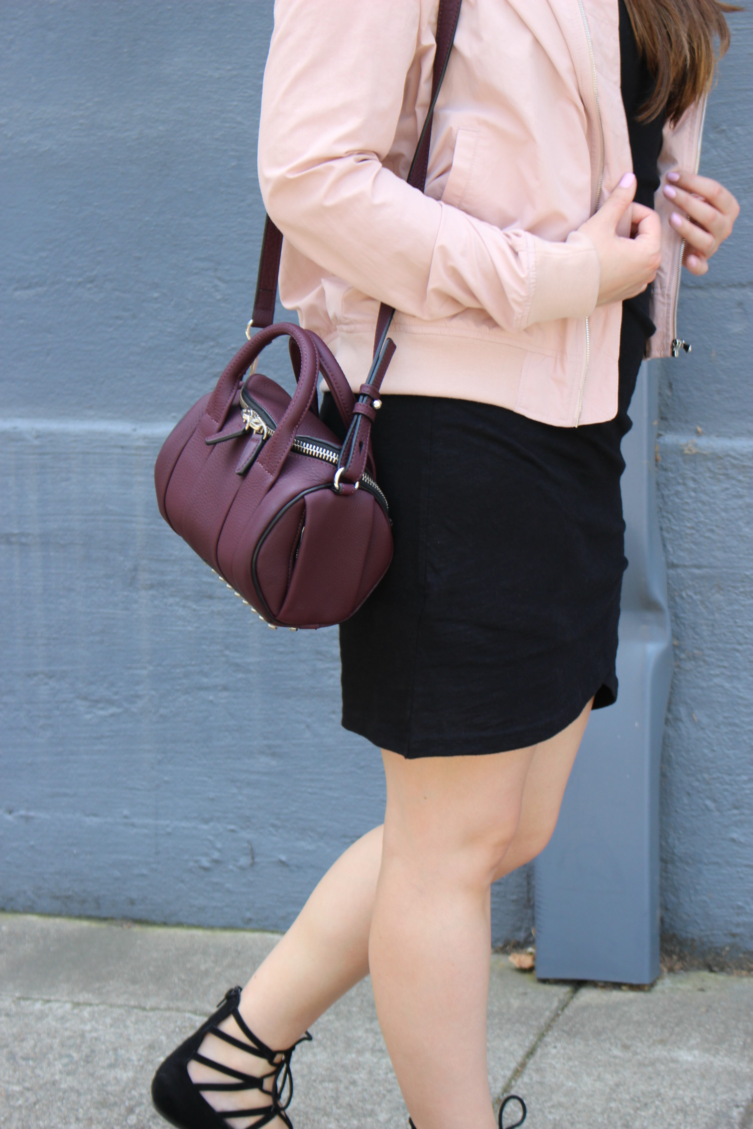 blush pink bomber - sf blogger