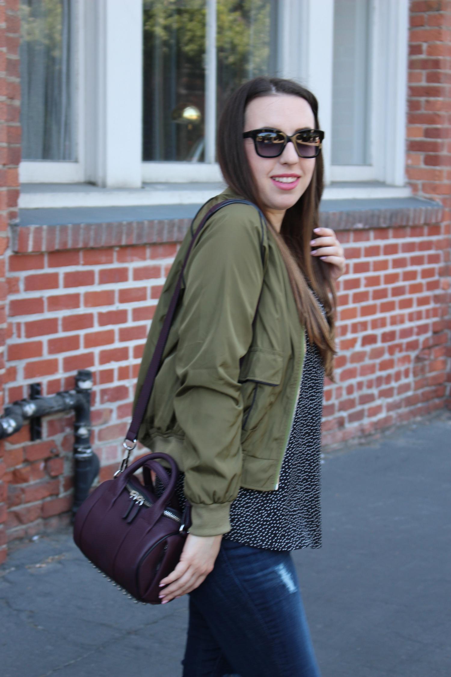 sf blogger - alexander wang rockie - olive bomber jacket
