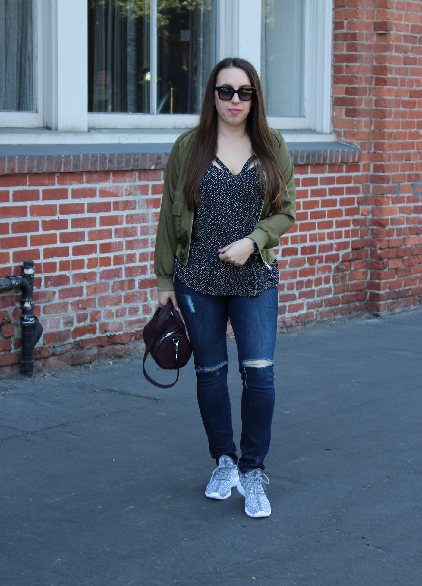 sf blogger - cut out cami - olive bomber jacket