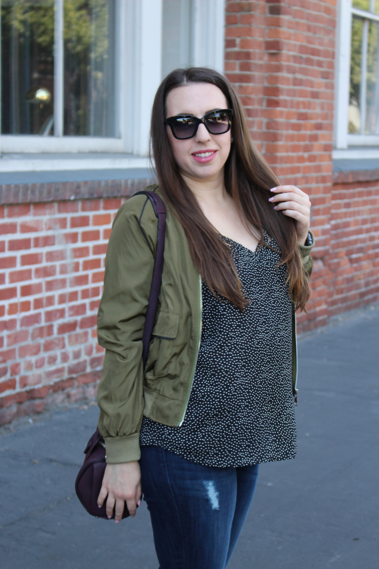 sf blogger - windsor olive bomber jacket
