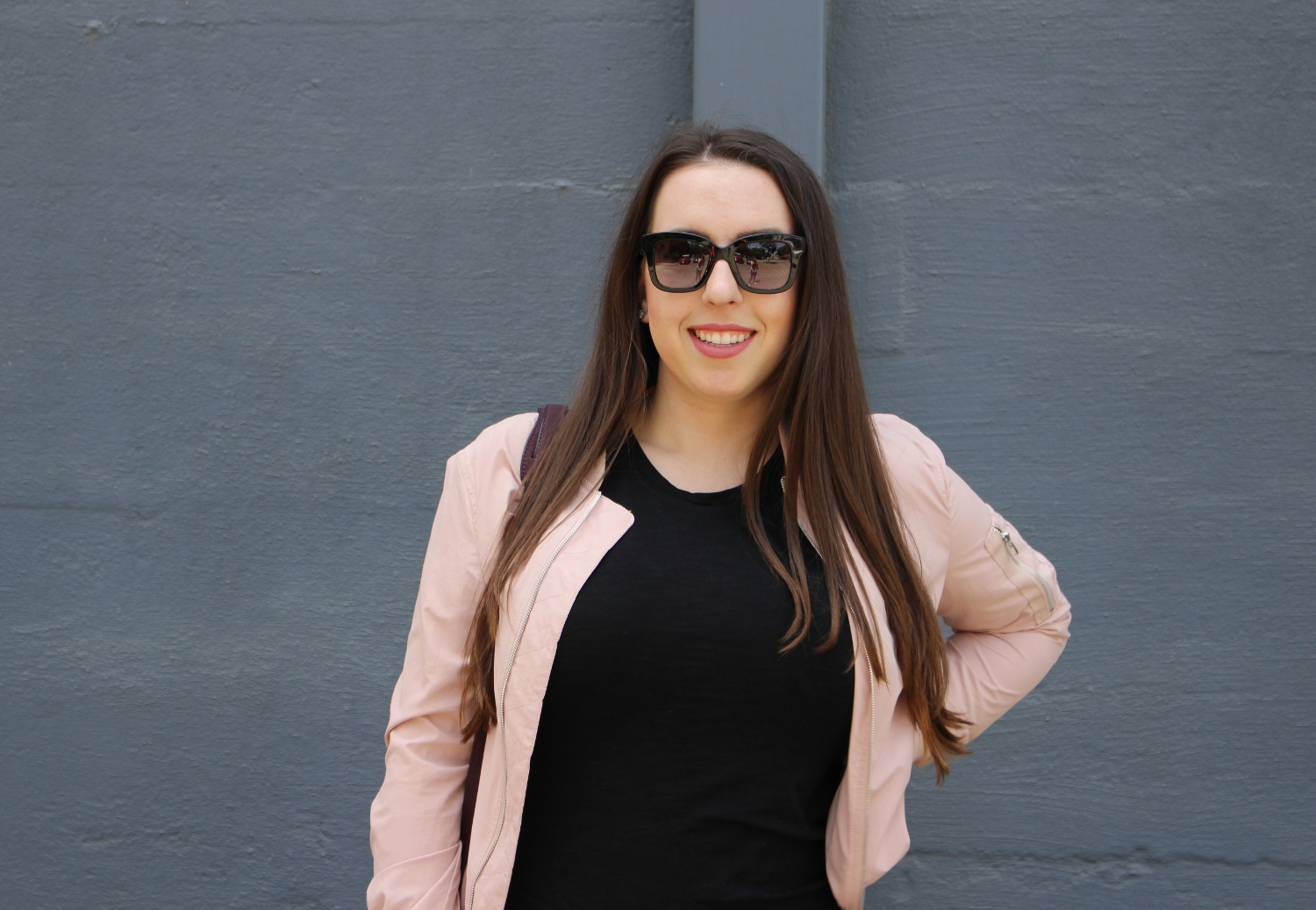 zara blush bomber - san francisco blogger