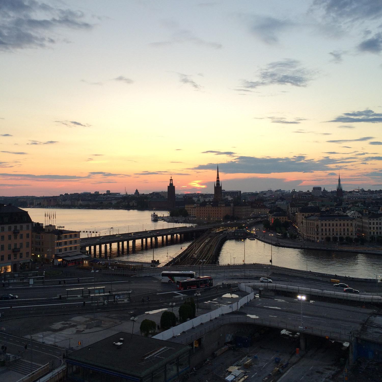 sunset skyline in stockholm, sweden