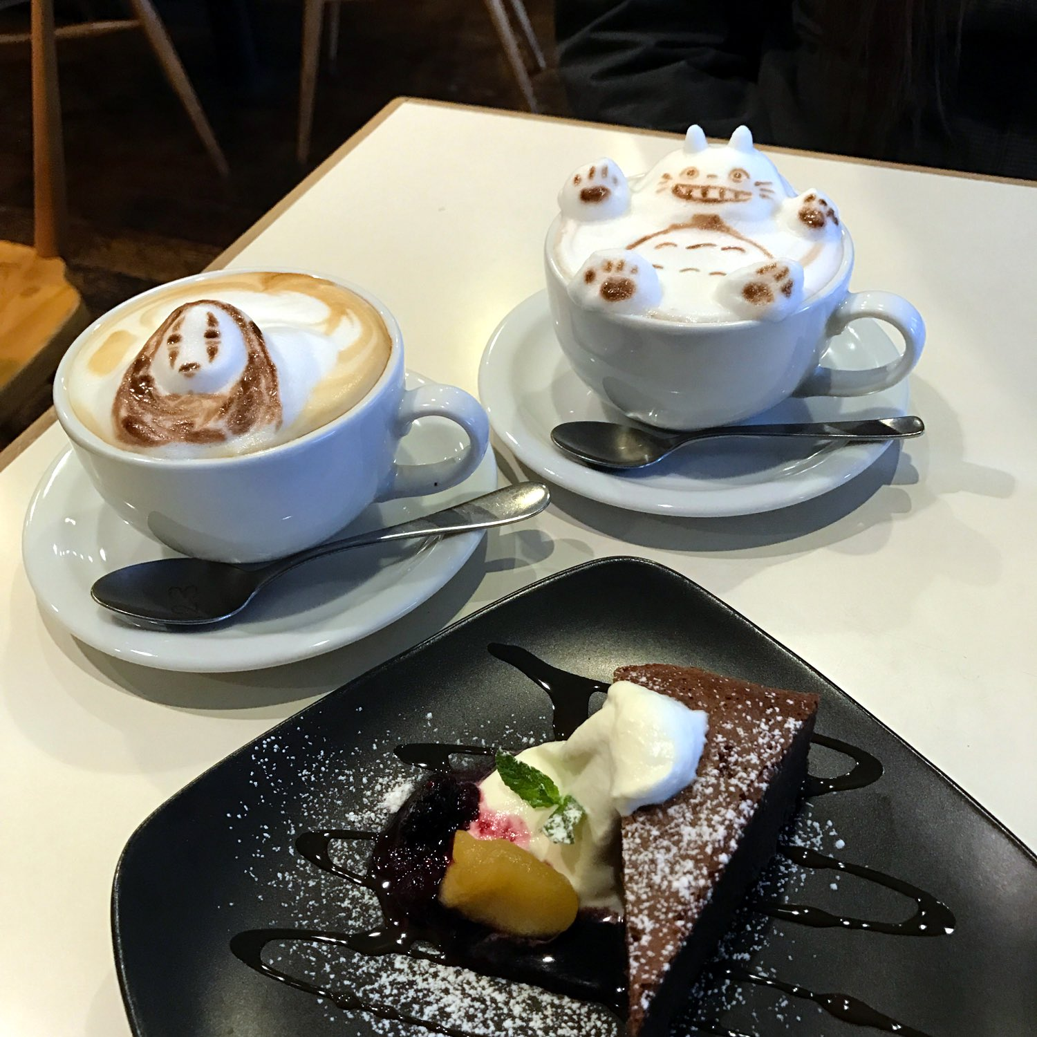 studio ghibli latte art at reissue cafe in tokyo