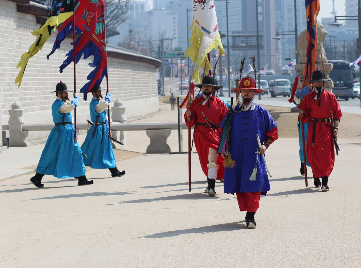 changing of the guards at gyeongbokgung in seoul, south korea