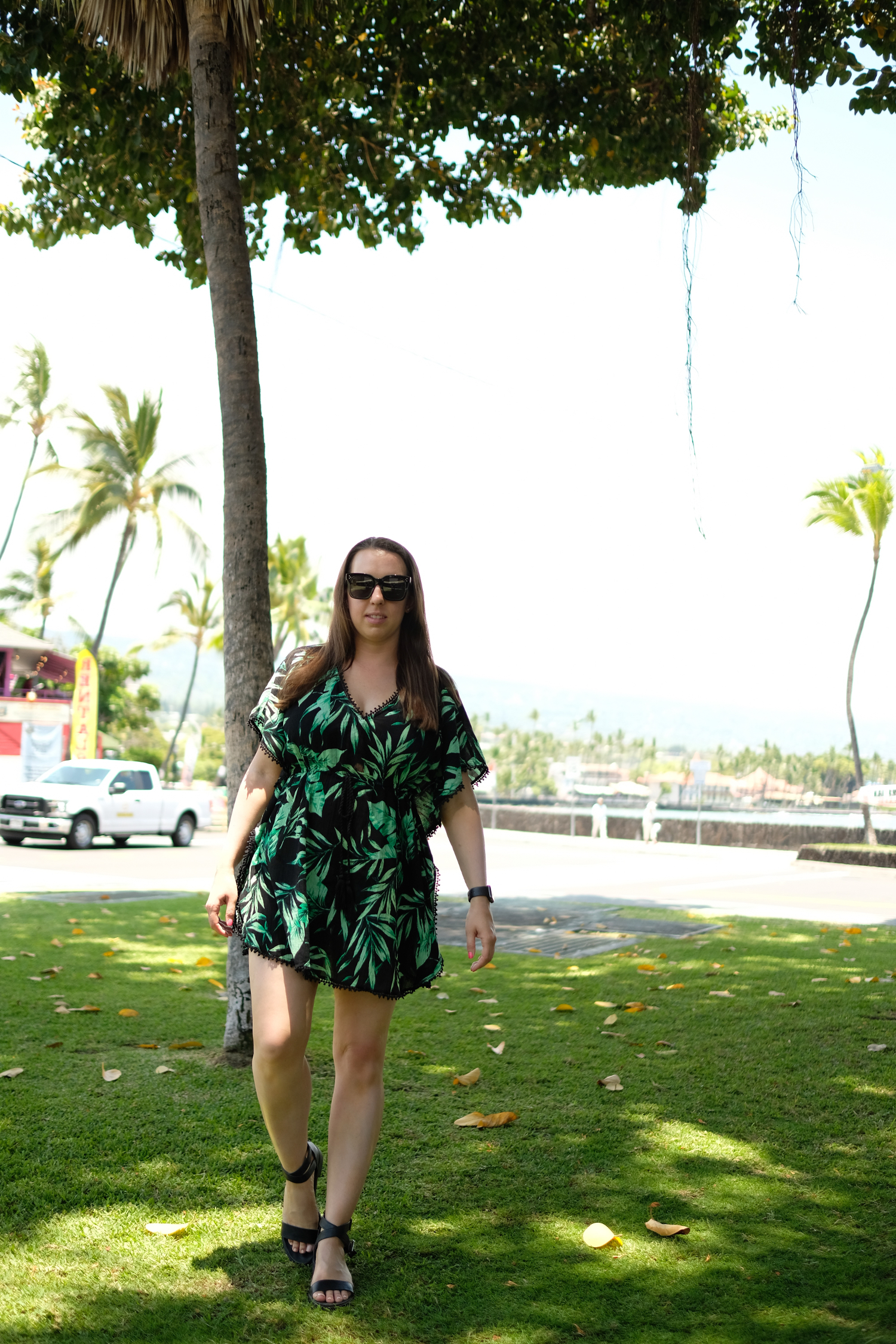 old navy palm print dress in kona, hawaii