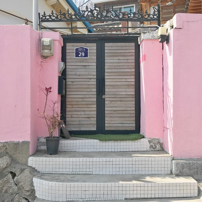pastel pink house in bukchon hanok seoul