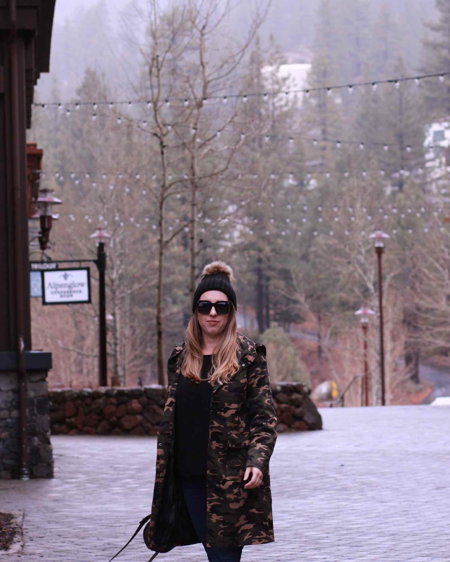 affordable winter coat - long camouflage trench