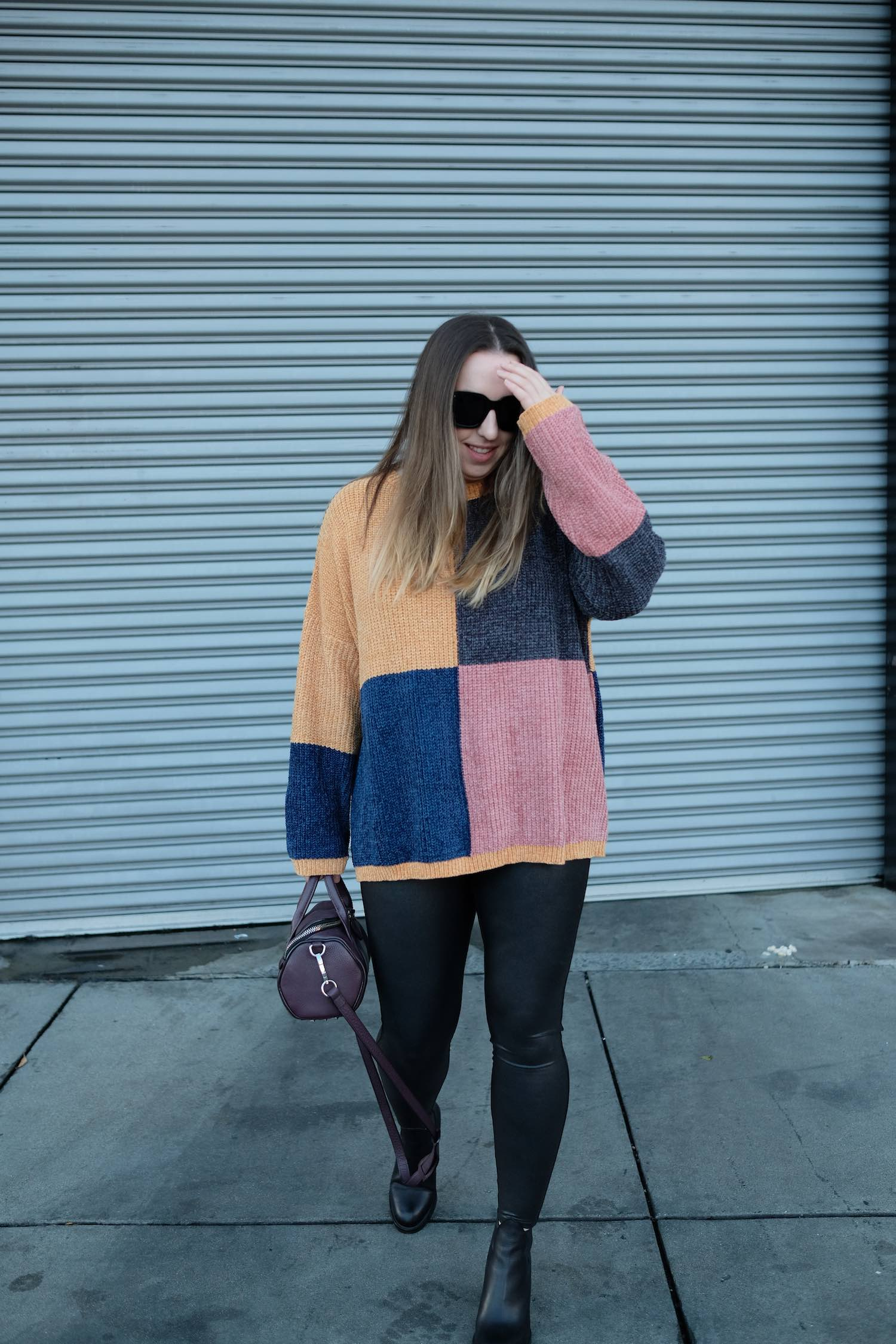 Muted Chenille Color Block Sweater