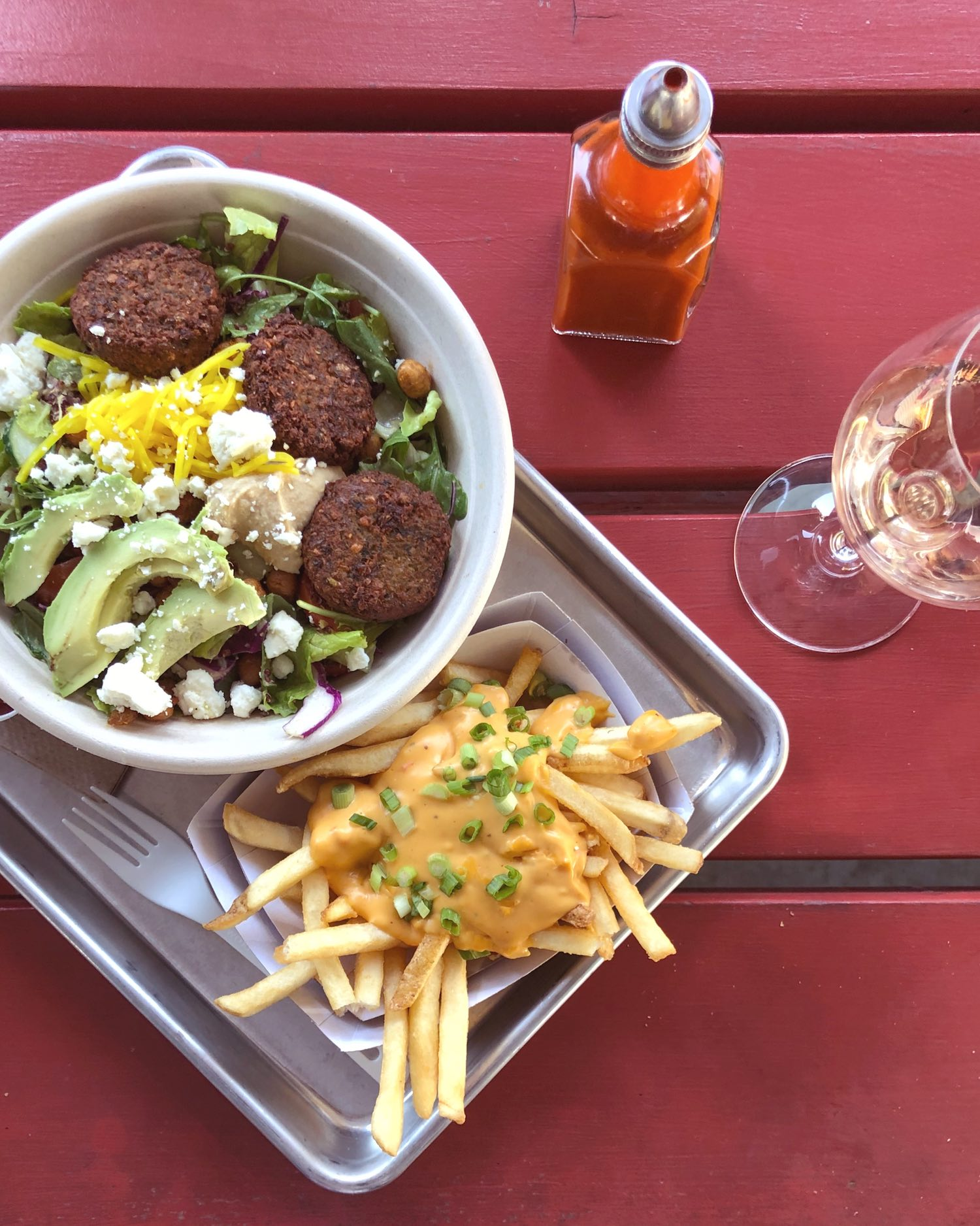 Falafel Salad and Cheese Fries at Gott's Roadside Napa