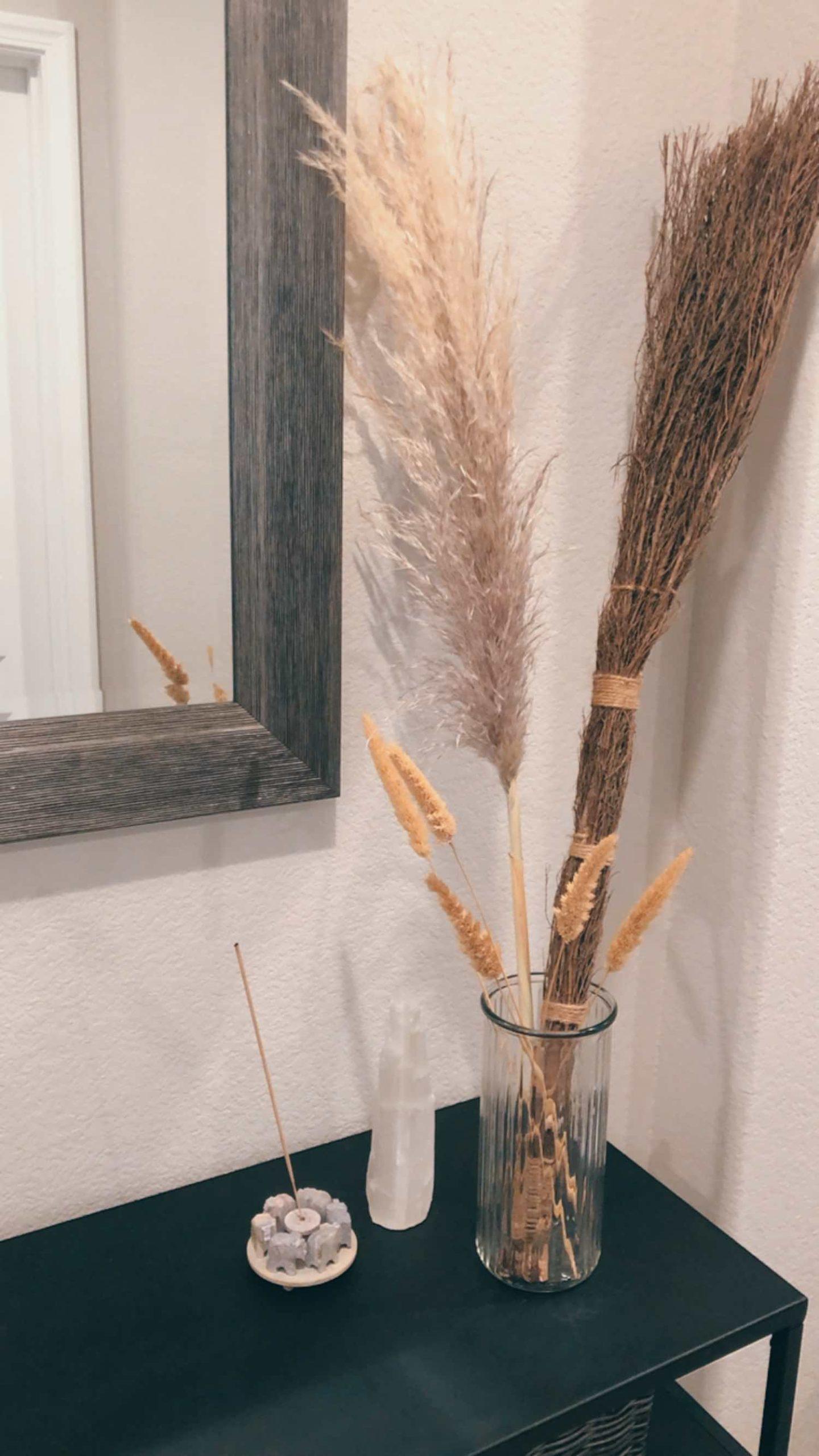 Fall Console Table Pampas Grass Cinnamon Broom Wheat Arrangement