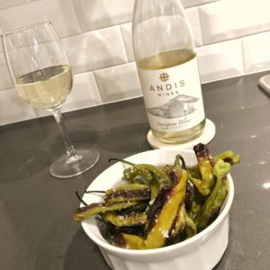 Easy Blistered Shishito Peppers Recipe - Andis Wines Sauvignon Blanc
